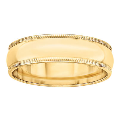 Personalized Womens 6mm 14K Gold Band
