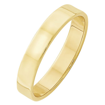 Mens 10K Yellow Gold Lightweight Flat Wedding Band