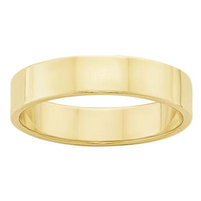 Mens 10K Yellow Gold Lightweight Flat Wedding Band