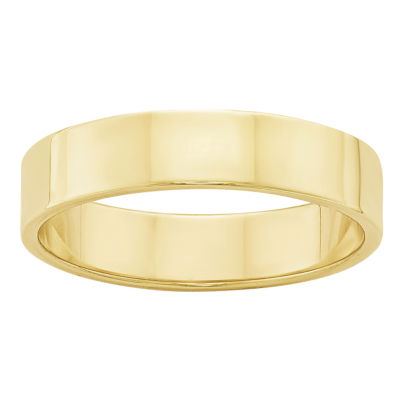 Womens 10K Yellow Gold Lightweight Flat Wedding Band