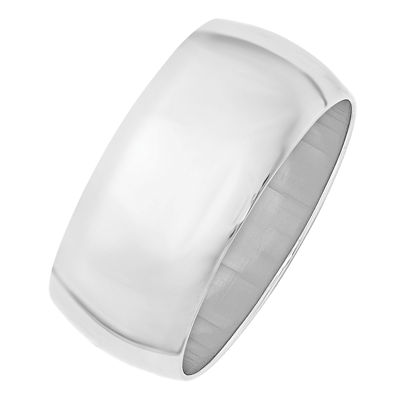 Mens 10K White Gold Half Round 10MM Wedding Band