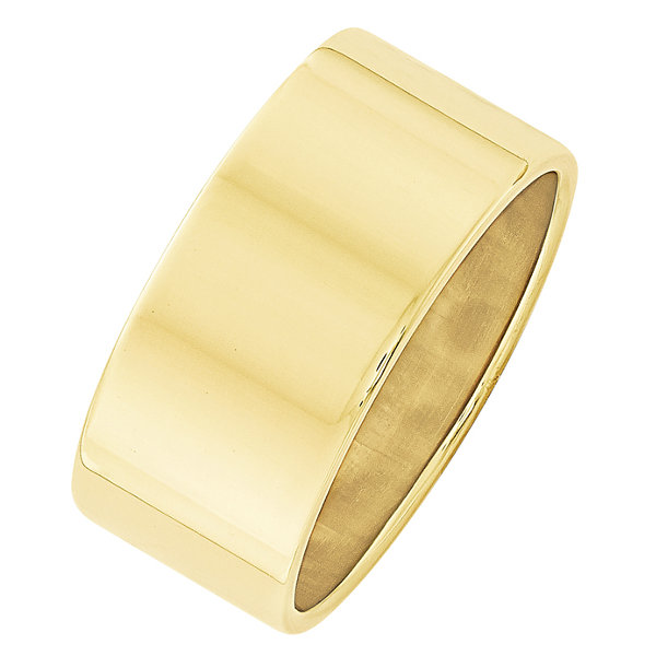 Mens 10K Yellow Gold Lightweight Flat 10MM Wedding Band