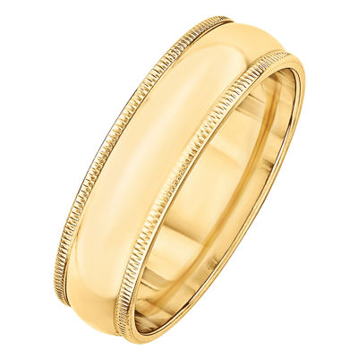 Personalized Mens 6MM 14K Gold Wedding Band