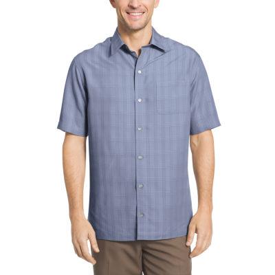 Van Heusen Short Sleeve Windowpane Camp Button-Front Shirt