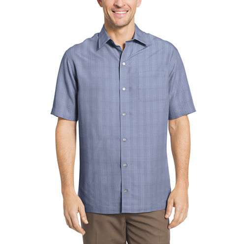 Van Heusen Short Sleeve Windowpane Camp Button-Front Shirt