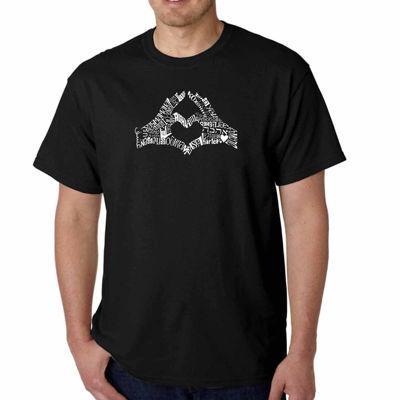 Los Angeles Pop Art Finger Heart Short Sleeve WordArt T-Shirt-Men's Big and Tall