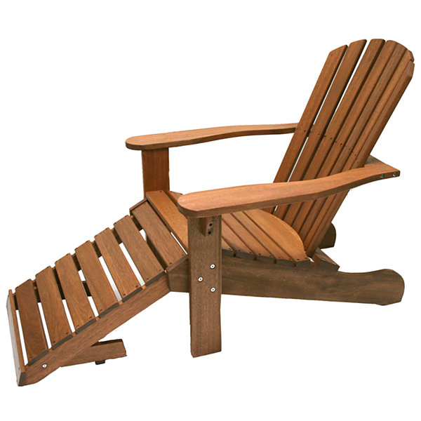Outdoor Interiors Adirondack Chair with Built-In Ottoman in Eucalyptus