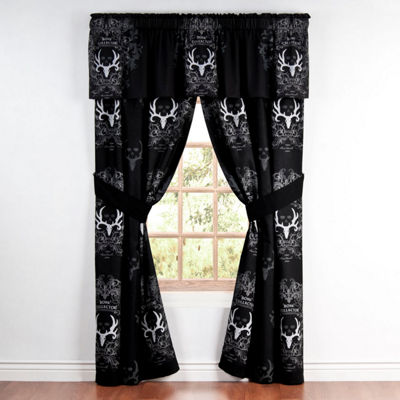 Bone Collector Black Rod Pocket Lined Curtains W/Tiebacks
