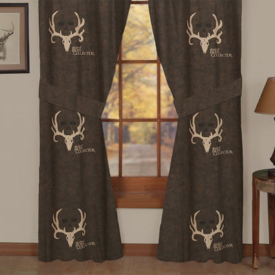 Bone Collector Brown Rod Pocket Lined Curtains W/Tiebacks
