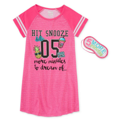 Sleep On It Short Sleeve Nightgown-Big Kid Girls