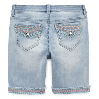 Arizona Embellished Denim Bermuda Shorts Girls 4-16 and Plus