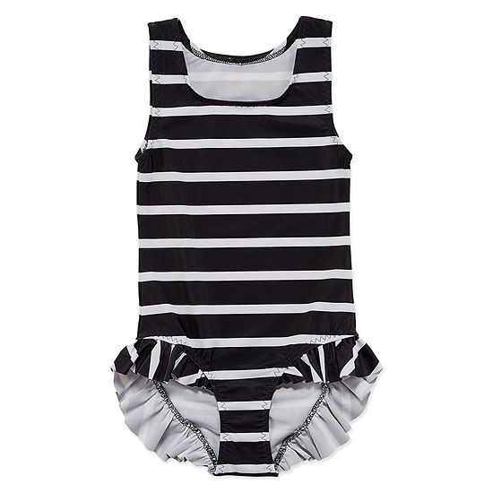 City Streets Girls Striped One Piece Swimsuit Toddler