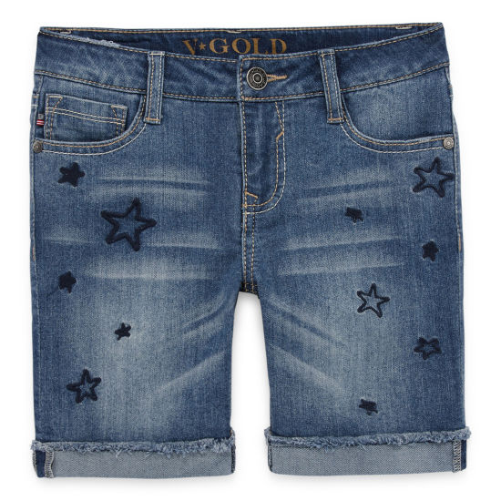 Vgold Skinny Fit Denim Bermuda Shorts - Big Kid Girls