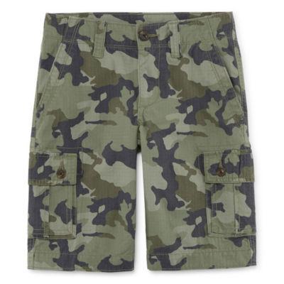 Arizona Solid Cargo Cotton Shorts Boys 4-20, Slim & Husky
