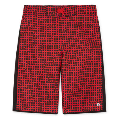 Xersion Red Grid Swim Trunk - Boys 4-20 & Husky