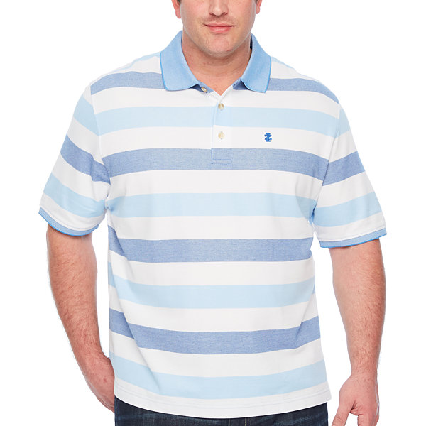 Izod short sleeve natural stretch striped polo shirt big for Jcpenney ladies polo shirts