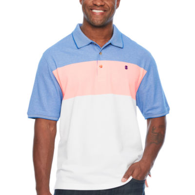 IZOD Advantage Performance Colorblock Polo Short Sleeve Stripe Knit Shirt Big and Tall