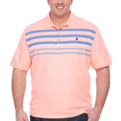 IZOD Advantage Performance Engineer Stripe Polo Quick Dry Short Sleeve Stripe Knit Polo Shirt Big and Tall