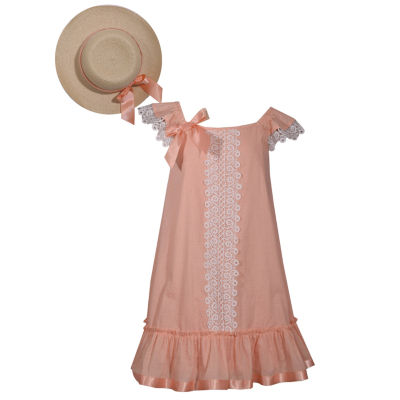 Bonnie Jean 4-6X Flutter Sleeve Dress With Hat