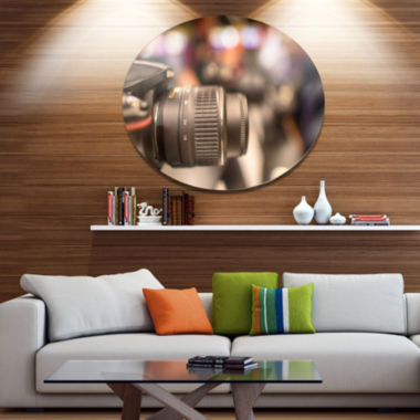 Design Art Camera in City Electronics Shop Disc Contemporary Metal Circle Wall Art