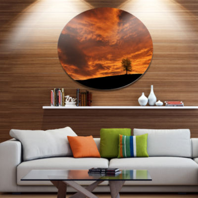 Design Art Lonely Tree under Brown Sky Disc Landscape Metal Circle Wall Art
