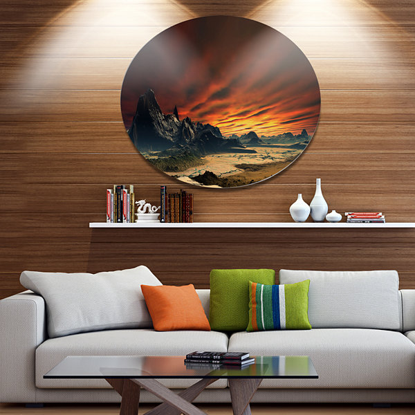 Design Art Beautiful Alien Planet Traos Disc Landscape Metal Circle Wall Art