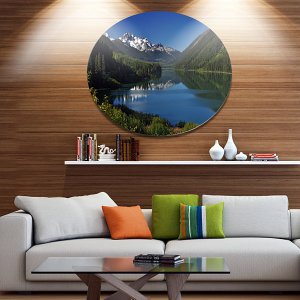 Design Art Calm Clear Lake with Mountains Extra Large Landscape Metal Circle Wall Art