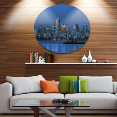 Design Art Vancouver Downtown in Evening Extra Large Metal Circle Wall Art