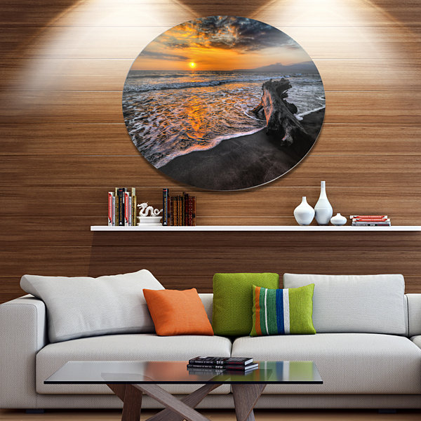 Design Art Log on Beach During Sunset Seashore Metal Circle Wall Art