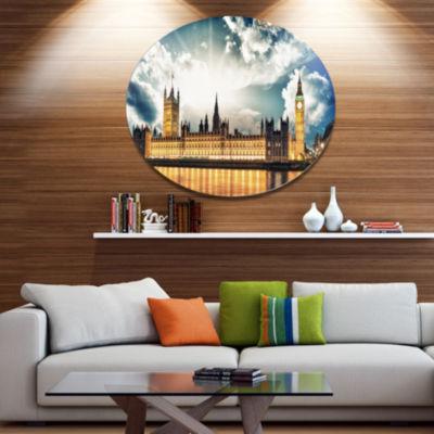 Design Art Big Ben UK and House of Parliament DiscExtra Large Metal Circle Wall Art