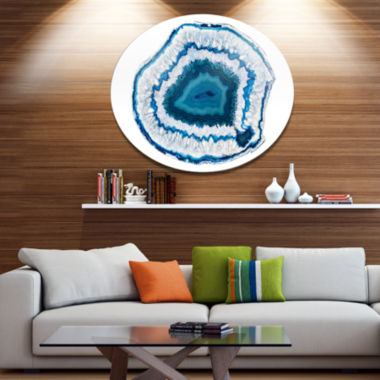 Design Art Blue Agate Crystal Disc Abstract MetalCircle Wall Art Print