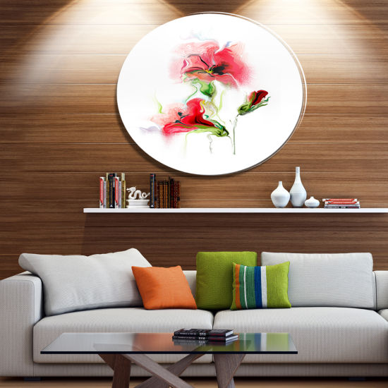 Design Art Red Floral Watercolor Illustration DiscLarge Animal Metal Circle Wall Art