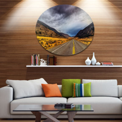 Design Art Mountain Desert Highway British Columbia Extra Large Landscape Metal Circle Wall Art