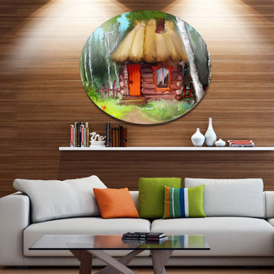 Design Art Rural Landscape with House Disc Extra Large Landscape Metal Circle Wall Art