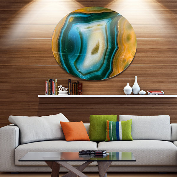 Design Art Colorful Agate Pattern Disc Abstract Metal Circle Wall Art Print