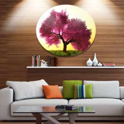 Design Art Cherry Blossom in Beautiful Garden DiscLandscape Metal Circle Wall Art