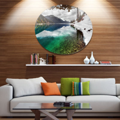 Design Art Clear Lake Pine Trees and Mountains Extra Large Landscape Metal Circle Wall Art