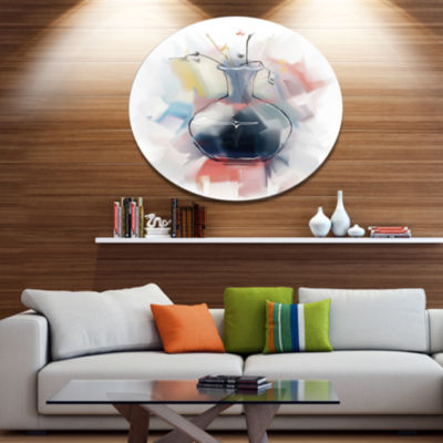 Design Art Abstract Flowers in Vase Disc Floral Metal Circle Wall Art