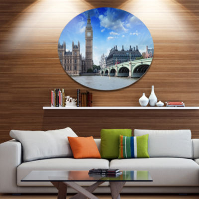 Design Art Houses of Parliament and Westminster Bridge Disc Cityscape Metal Circle Wall Art
