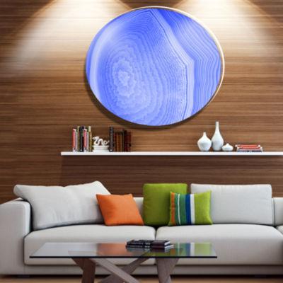 Design Art Dark Blue Agate Structure Disc AbstractMetal Circle Wall Art
