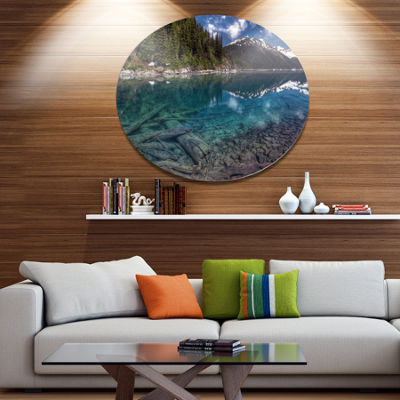 Design Art Blue Waters and Mountains Extra Large Landscape Metal Circle Wall Art