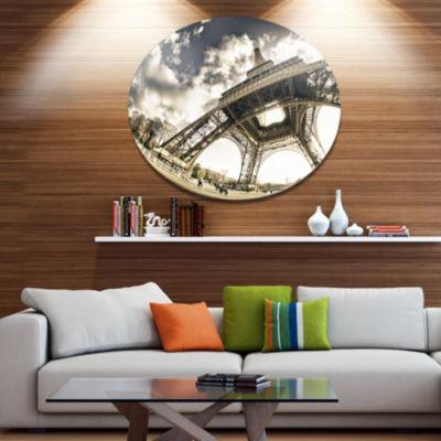 Design Art Paris Eiffel Towerin Sunny Winter Morning Disc Extra Large Metal Circle Wall Art