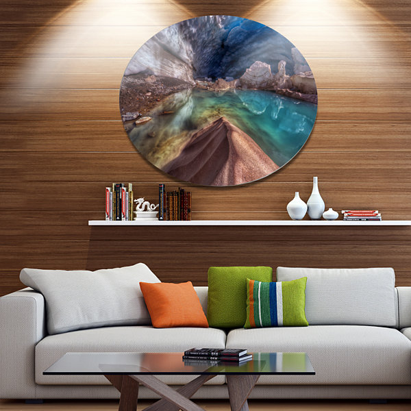 Design Art Colorful Glacier Cave Disc Extra LargeLandscape Metal Circle Wall Art