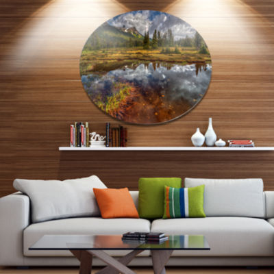 Design Art Clear Lake Mirroring Cloudy Skies ExtraLarge Landscape Metal Circle Wall Art