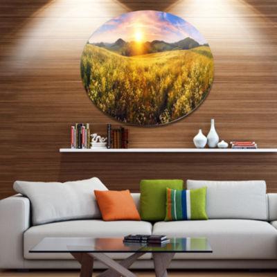 Design Art Beautiful Meadow Panorama Disc Landscape Metal Circle Wall Art