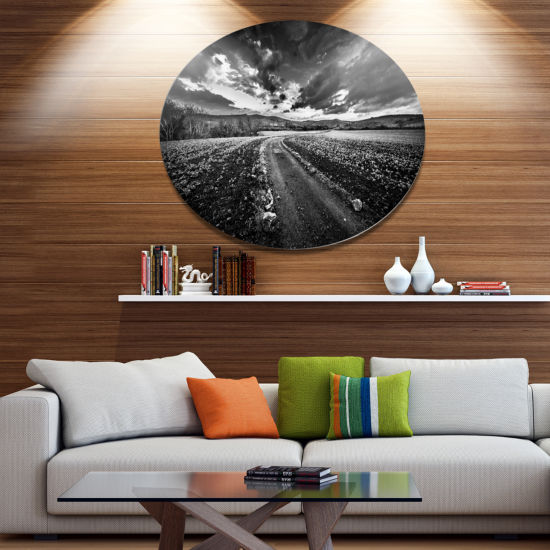 Design Art Black White Landscape from Sardinia Disc Landscape Metal Circle Wall Art