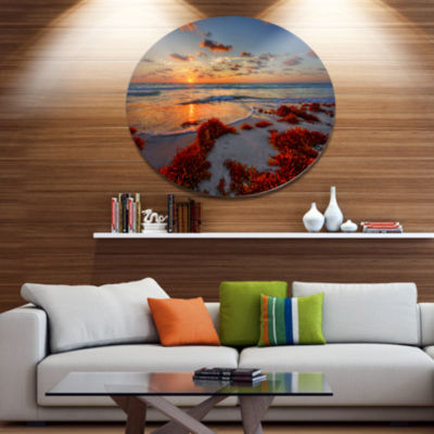 Design Art Beautiful Shore and Cloudy Sky Extra Large Landscape Metal Circle Wall Art