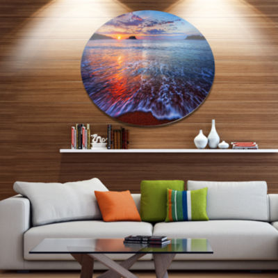 Design Art Placid Shore and Whimsical Clouds Seashore Metal Circle Wall Art