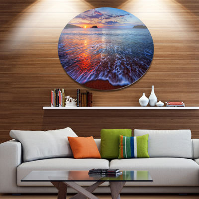 Design Art Placid Shore and Whimsical Clouds Seashore Metal Circle Wall Art