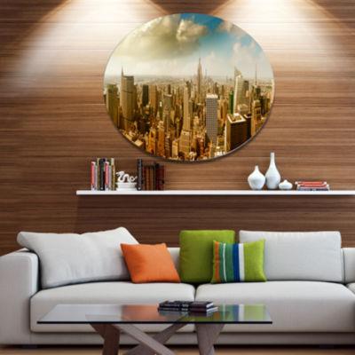 Design Art Midtown and Downtown Manhattan Disc Cityscape Metal Circle Wall Art